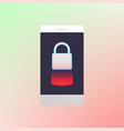 locked smartphone luminous padlock vector image vector image