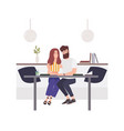 lovely couple sitting at cafe table and embracing vector image vector image