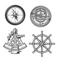 marine navigation compass ship helm and sextant vector image vector image