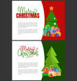 merry christmas holidays postcards evergreen tree vector image vector image