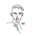nonbinary ennb person concept man with make vector image vector image