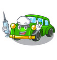 nurse miniature classic car in shape characters vector image