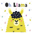 oh llama cute card in scandinavian style with hand vector image vector image