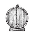 old wooden barrel with tap vector image vector image