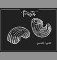 pasta gamiti rigatti chalk sketch for italian vector image vector image