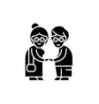 pensioners black icon sign on isolated vector image vector image