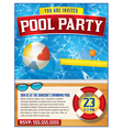 Pool Party Invitation Template vector image vector image