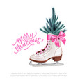realistic merry christmas spruce tree skate vector image