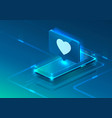 screen phone neon icon like heart modern blue vector image