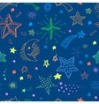 Seamless pattern with night sky and colorful hand vector image vector image