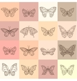 Set with different butterflies Contour vintage vector image