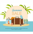 suitcase and beach accessories on island vector image