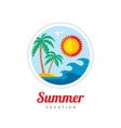 summer vacation - creative logo template vector image vector image