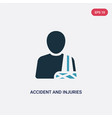 two color accident and injuries icon from law