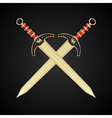 two medieval swords isolated vector image vector image
