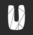 u white alphabet letter isolated on black vector image