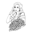 Woman holding a beautiful flower vector image