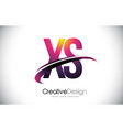 xs x s purple letter logo with swoosh design vector image vector image