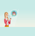 young caucasian woman looking for a house vector image vector image