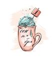 Hand drawn abstract of mug vector image