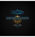 Fish Logo Seafood Label Vintage Design Background vector image