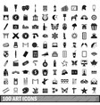 100 art icons set simple style vector image vector image