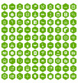 100 auto service center icons hexagon green vector image vector image