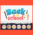 back to school pencil and pen children icons set vector image