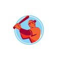 Baseball Batter Batting Bat Circle Retro vector image vector image