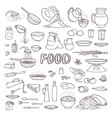 black and white sketch collection set food vector image vector image