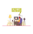 blogging work space background vector image vector image