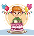 boy on his birthday with cake and balloons vector image