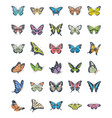 butterfly flat icons set vector image