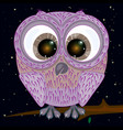 cartoon owl and stars vector image vector image