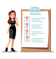 cartoon young standing woman thinking about time vector image