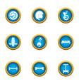 cartwheel icons set flat style vector image vector image