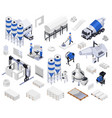 cement production isometric icons vector image vector image