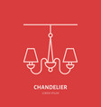 chandelier flat line icon logo for lamp vector image