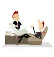 chief and employee discussing a business plan vector image vector image
