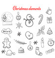 christmas doodle elements vector image vector image