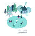 christmas greeting card with skating people vector image vector image