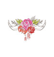 Cow horns with flowering roses hand drawn floral vector image