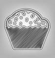 cupcake sign pencil sketch imitation vector image