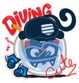 cute cartoon cat diving in a fishbowl vector image vector image
