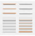 emply wooden shelf set isolated transparent vector image vector image