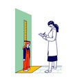 female doctor character measuring height little vector image