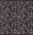 female faces seamless pattern one line art vector image