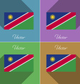 Flags Namibia Set of colors flat design and long vector image