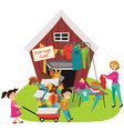 garage sale sellers sell old goods low price vector image
