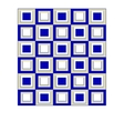 Geometric background of white and blue squares vector image